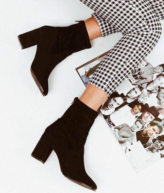 fall fashion, winter outfits, plaid pants, black booties
