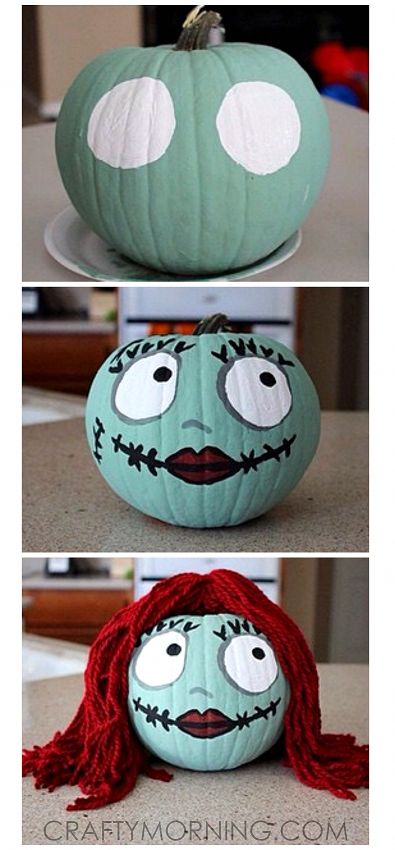 Sally Skellington No-Carve Pumpkin for Halloween (Nightmare Before Christmas) #christmaspartyideasforkids