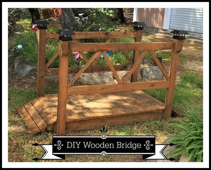 diy wood garden bridge, diy, outdoor furniture, outdoor living, woodworking projects