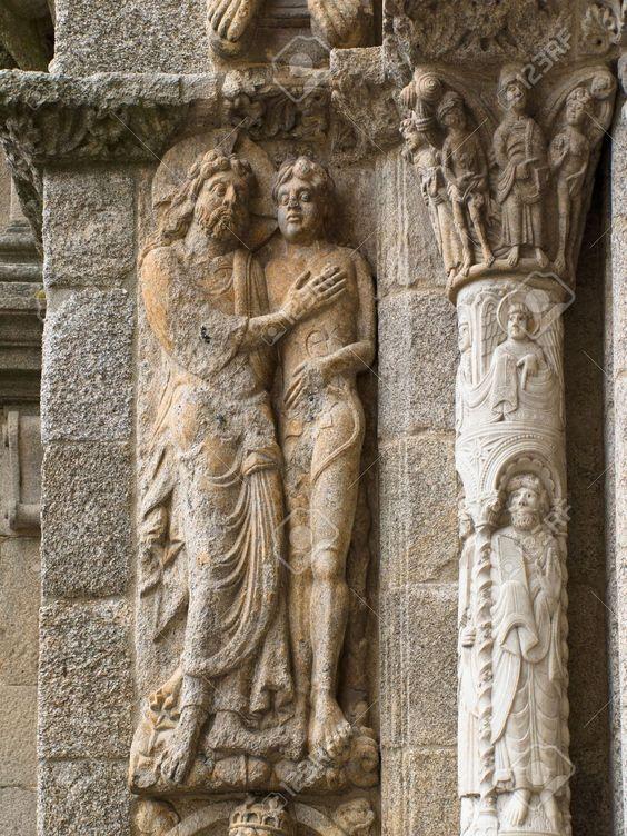 Romanesque Adam and Eve, Platerias facade, Saint James Compostela Cathedral 8a4511ccd108b7c1e2be9408602662e4