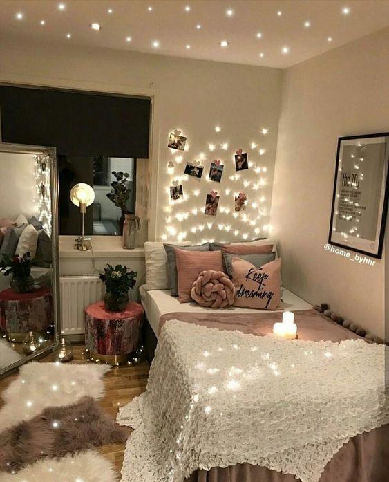 Cute teen dorm room light pink string lights