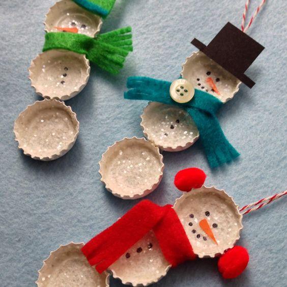 Crafty Lumberjacks: Bundled Bottle Cap Snowmen!