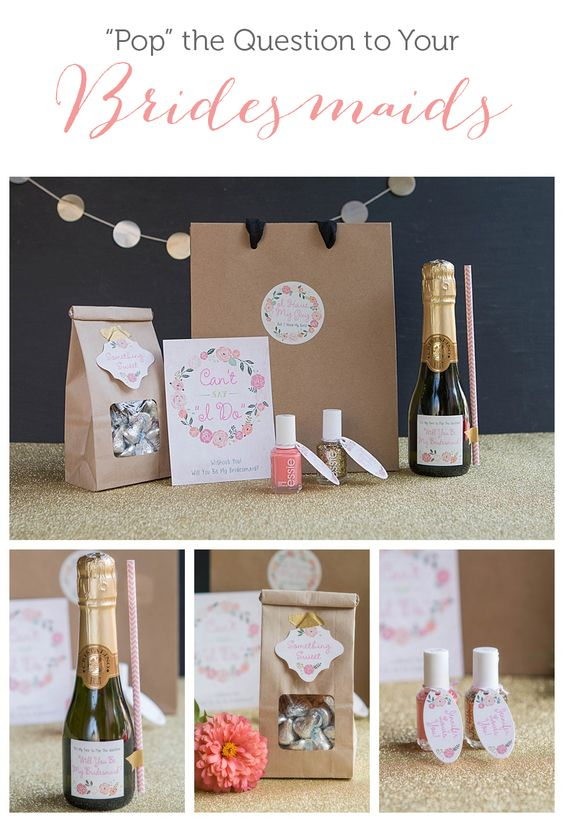 A great bridesmaid proposal idea with champagne, nail polishes to show off wedding colors, treats, and more. | Evermine Weddings | evermine.com