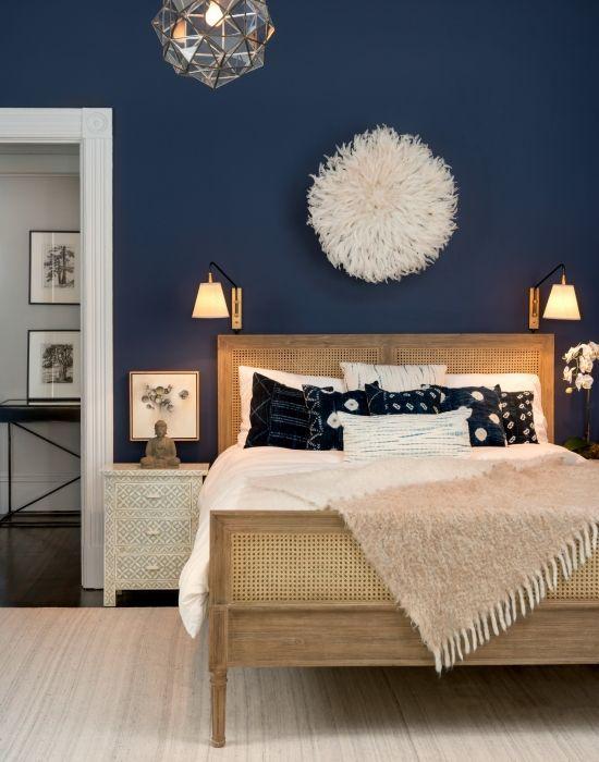 Bedroom Wall color is Benjamin Moore Stunning via Sway Design:
