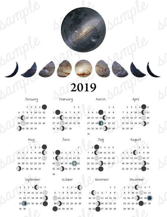 2019 Moon Phase Calendar Galaxy Equinox Solstice Astronomy