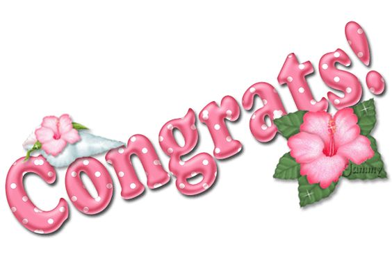 Glitter Words | Glitter Text » Congratulations » Pink Hibiscus: Congrats