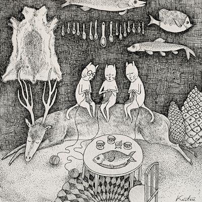 illustration, animal, deer, fish, fur, interior. naive, pattern. Knitting Cats Art Print