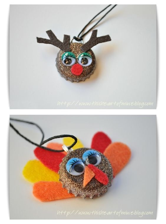 DIY Lovely Reindeer & Turkey Bottle Cap Necklace by Christie