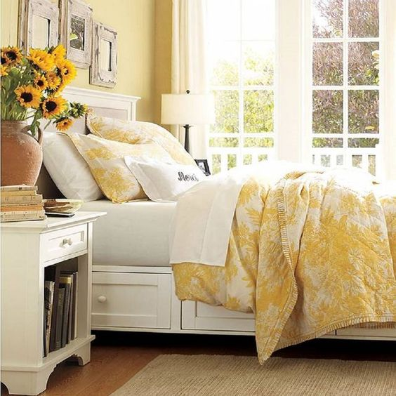 Yellow French country bedroom