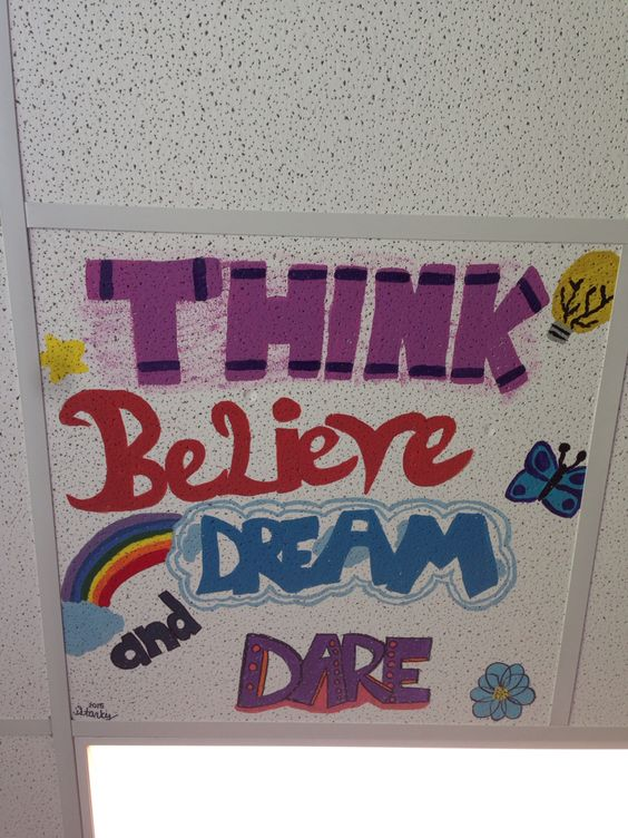 Painted ceiling tile in classroom. Kids are going to do the same , too!