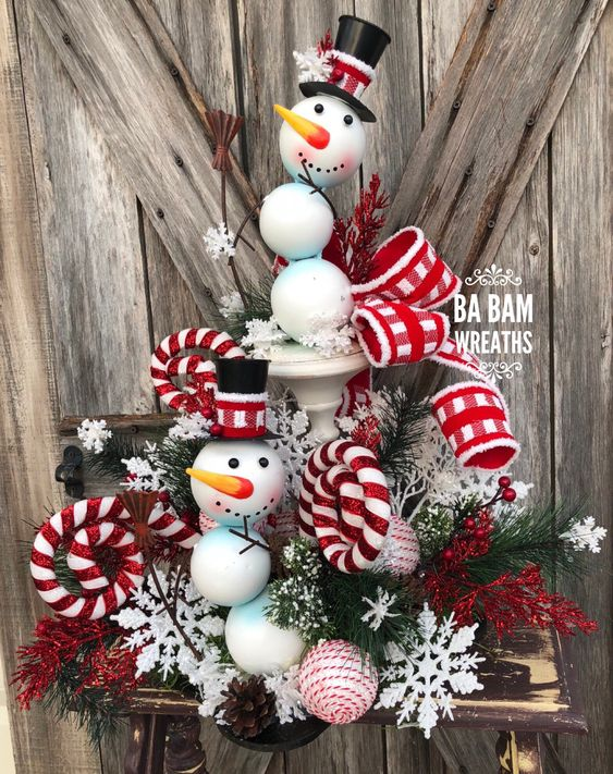 Ba Bam Wreaths, Christmas Centerpiece, Christmas Floral, Christmas Decor, Snowman Centerpiece, Snowman Decor