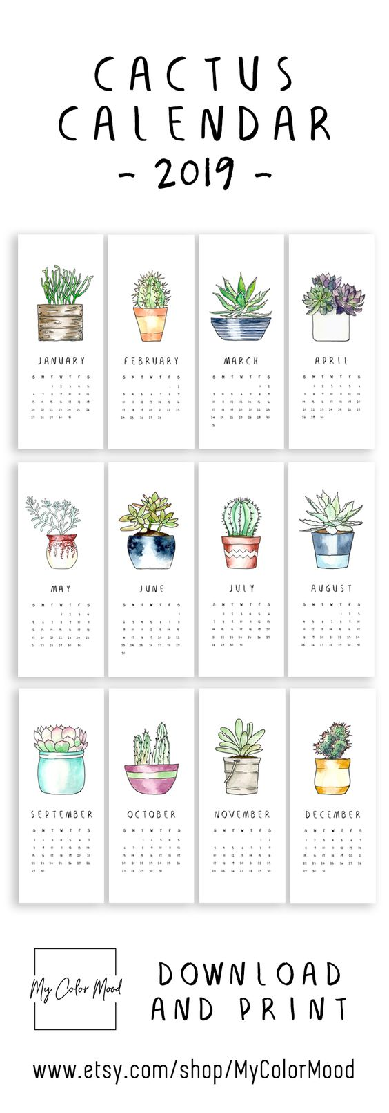 Modern cactus calendar 2019 for all the succulent lovers! These small printable calendar pages will be an original decor accent for your home or office! 🌵HOW TO USE THIS CALENDAR? 1) Use a washi tape to stick it to the wall 2) Use a magnet & put it onto a magnetic board 3) Use a pin & pin it on a cork board 4) Use a clothespin, hang it on a string and make a hanging calendar 5) Use a clip to hold all the pages together and use it as a desk calendar
