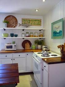 Today, I'm sharing our kitchen reno at the beach cottage. The before kitchen was obviously not the original 1955's kitchen and it w... #Beachcottagestyle
