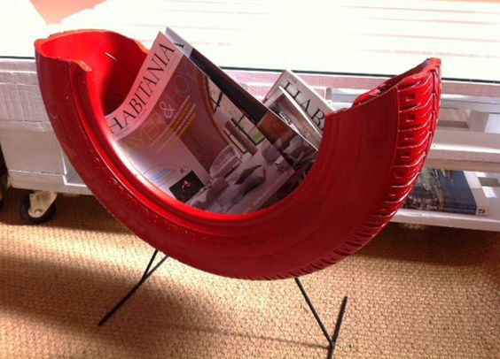 magazine rack from recycled tyres #reuse #recycle #repurpose #tyres #tire #diy #makeit #car #garden #plant #aboutthegarden