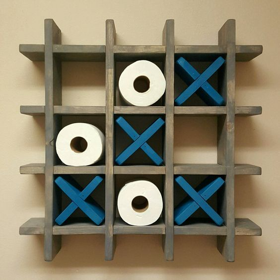 Bathroom Tic Tac Toe - Game - Made to order - Toilet paper roll holder - Toilet paper Tic Tac Toe - Pallet Wall art - Floating shelf by WoodSpeaksShop on Etsy