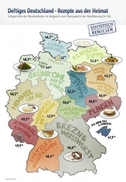 Geschmäcker sind verschieden. Jedes Bundesland hat seine kulinarischen Eigenheiten. Wir haben die besten regionalen Rezepte der Bundesländer, inklusive unserem heimlichen 17. Bundesstaat Mallorca, zusammengetragen und dem Übergewicht der Bevölkerung gegenübergestellt. Schleswig-Holstein – Rübenmalheur Zutaten 500 g Kasseler (ohne Knochen) 2 Kochwüste (Mettenden oder Kohlwürste) 500 g Steckrüben 500 g Karotten 500 g Kartoffeln Eine Zwiebel Salz, Pfeffer, Fleisch- oder Gemüsebrühe, Fett zum Anb...