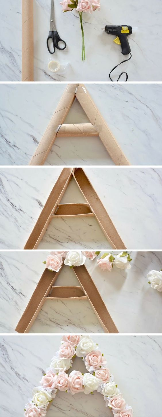 DIY flower letter with multi colour white, peach, pink and white roses