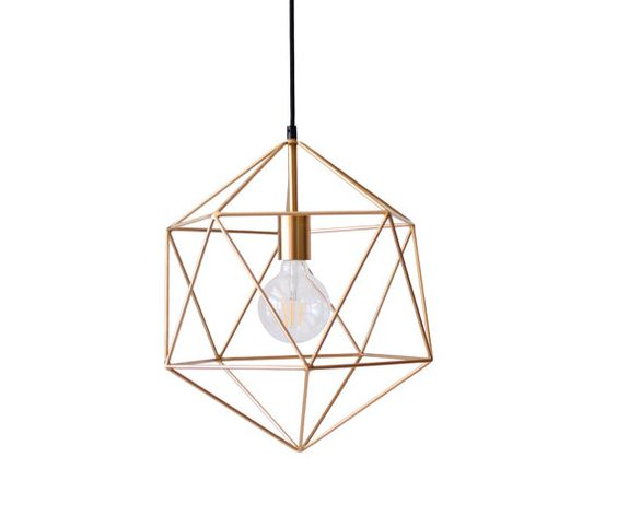 Gold Geometric Pendant Light Chandelier by LightingAlchemy on Etsy