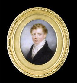 Thomas Hargreaves (British, 1775-1846) -  A young Gentleman, wearing black coat over white waistcoat and tied stock. Signed on the reverse and dated T Hargreaves pinxt/ 1818, ormolu frame with beaded border. Oval, 74mm (2 15/16in) high