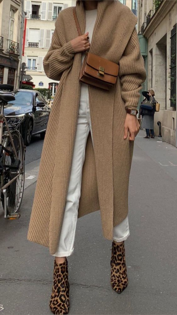 Camel cardigan + white jeans + leopard boots #streetstyle #womensfashion #ootd