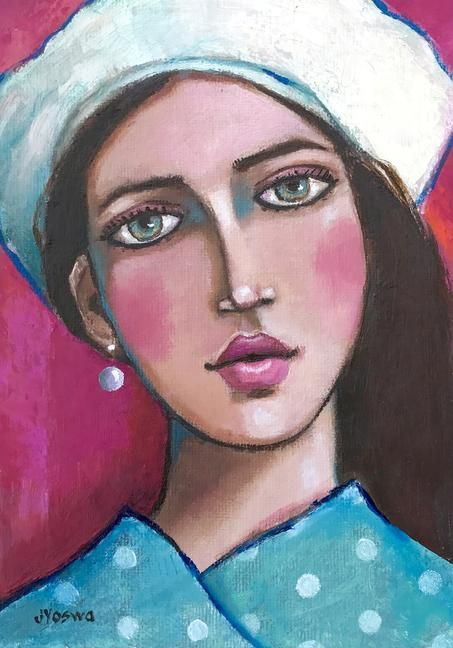 Girl Wearing a White Beret by Jennifer Yoswa