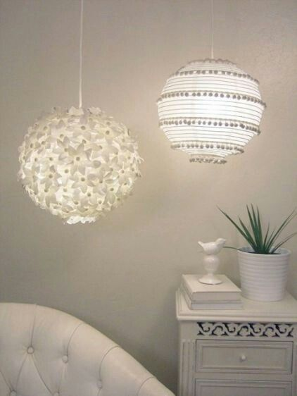 Paper lanterns- could switch up the pom-pom garland & flowers to suit a different color scheme