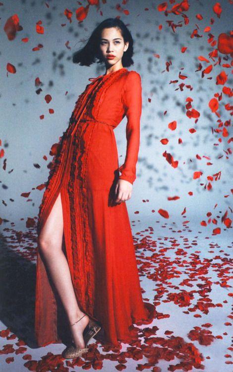 花びらと赤いドレスのかっこいい水原希子