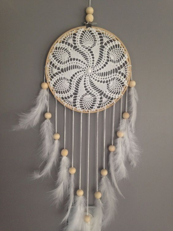 Dream catcher / dreamcatcher / dream catcher in pizzo, piume e perle