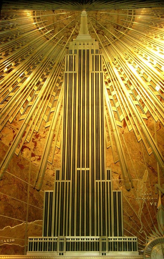 Mural, Empire State Building. // Art #Deco and #Art #Nouveau #Interior #design & #decoration. #home #decor america Top 5 : America as a Source of Inspiration b88c1619b30dee555016f881d6deb10b