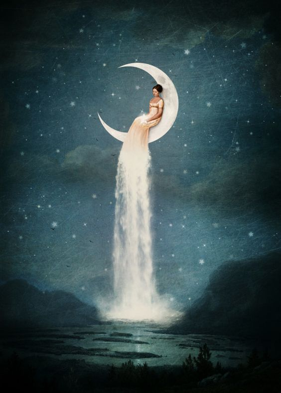 Displate Poster Moon River Lady moon #river #girl #romantic #star #sky