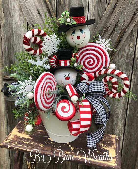 Excited to share this item from my #etsy shop: Christmas Centerpiece, Christmas Floral, Christmas Decor, Snowman Centerpiece, Snowman Decor
