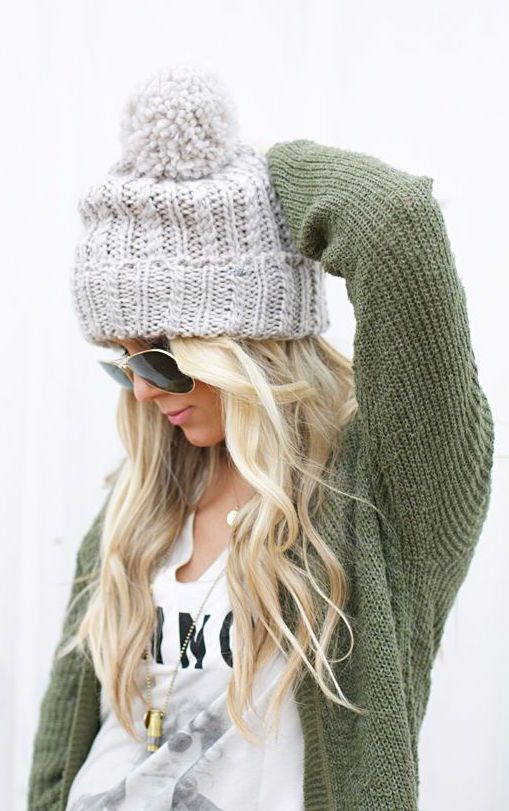 #fall #fashion / green knit + beanie
