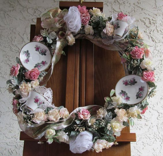 Tea cup wreath by TKInspireCreate on Etsy, $65.00