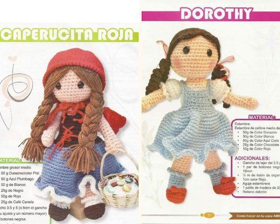 Muñequitas amigurumis Dorothy y Caperusita Roja (Patron en español)