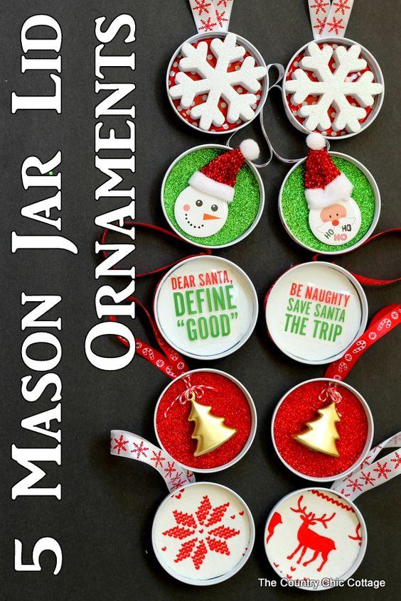 5 Mason Ornamenti Jar Lid - trasformare quei coperchi di vaso di muratore in ornamenti di divertimento con queste idee!