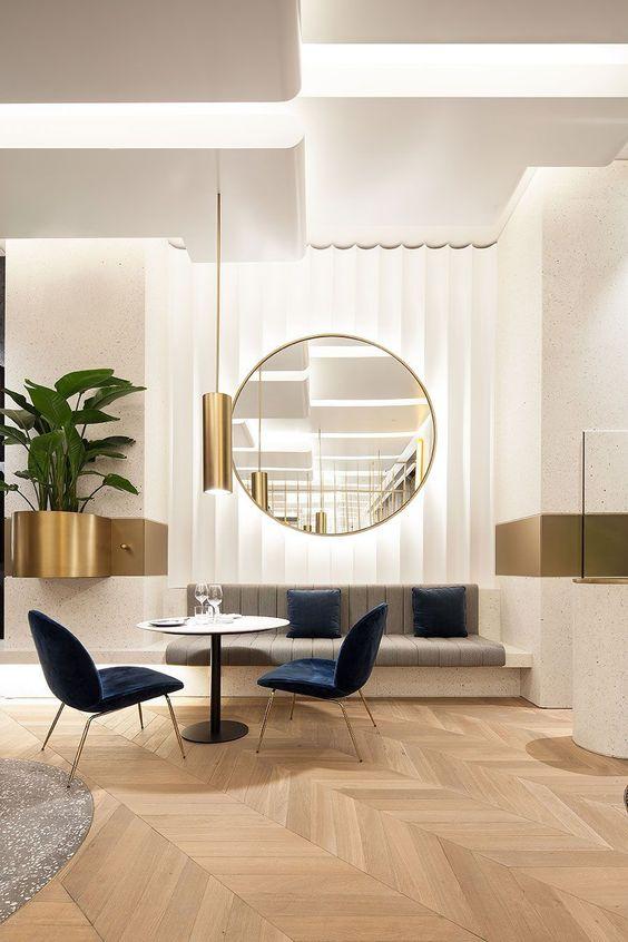 Fluted wall | Modern Glam #artdecostyle #glamorous #moderninteriordesigncafe #luxuryofficedesign