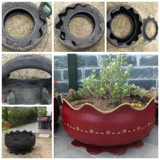 Transforme um pneu velho em vaso de flores