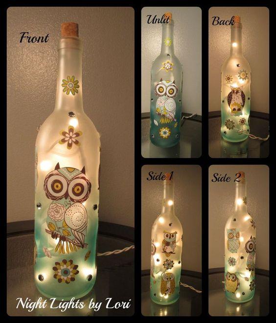 Bottiglie decorative: Night Light bottiglia di vino gufo di NightLightsbyLori su Etsy www.etsy.com/... -Per saperne di più -
