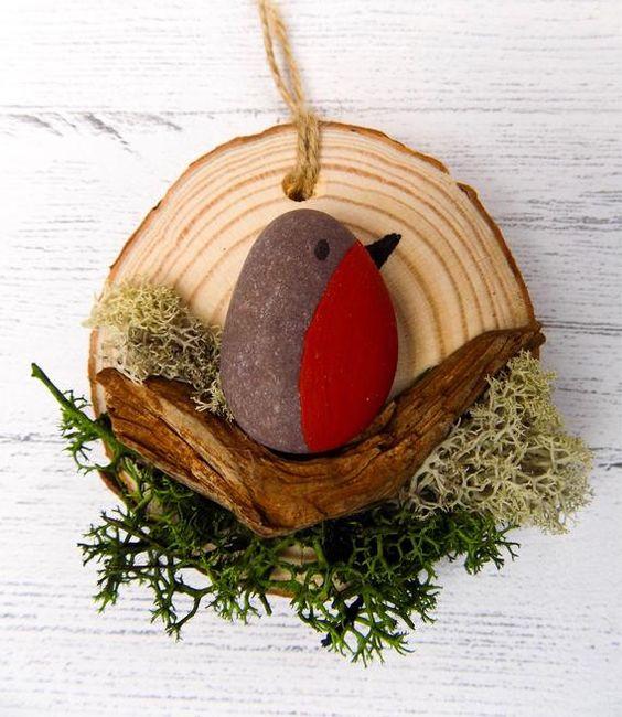ARTE di ciottoli ghiaia arte robin ghiaia ghiaia uccelli | Etsy