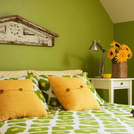 This is the color of our room, the yellow would be a nice accent.