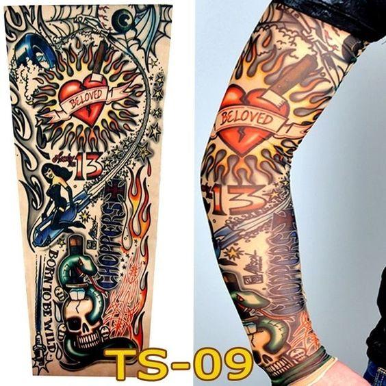 95ee13458 Heart Skull Halloween Long Cover Fake Full Arm Leg Sleeve Tattoo Design