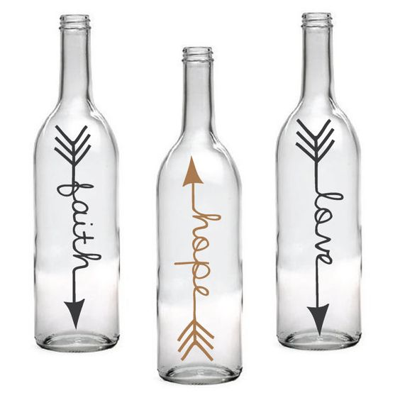 Set di 3 fiabe Hope Love Wine Bottle con Arrow Design di LEVinyl