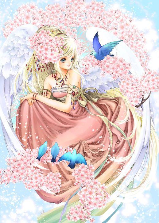 Cherry tree angel with long blond hair, blue eyes, pink strapless dress, white feather wings, sakura flowers, & birds by manga artist Shiitake.