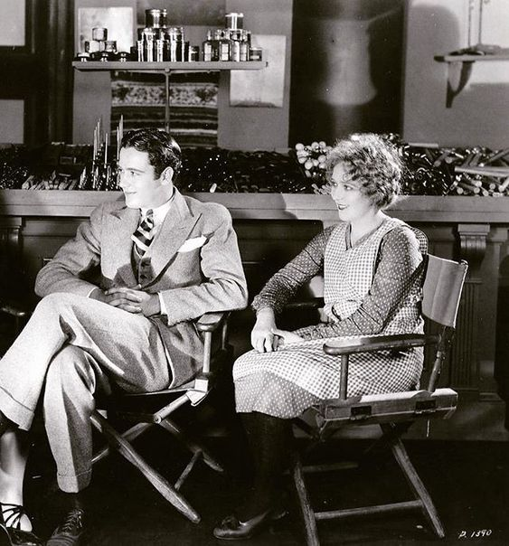 Buddy Rogers and Mary Pickford on the set of My Best Girl, 1927