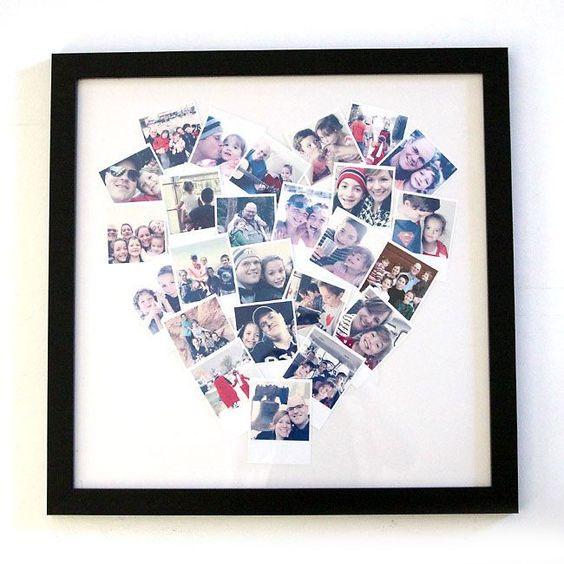 DIY photo collage heart display