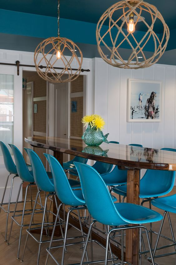 Beach house lighting...House of Turquoise: Chair 5 Beach Bistro and Bar | Digs Design Company