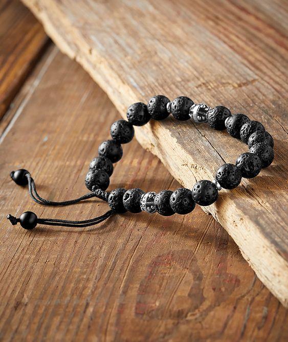 Koloa Bracelet with Real Black Lava Beads - Carbon2Cobalt