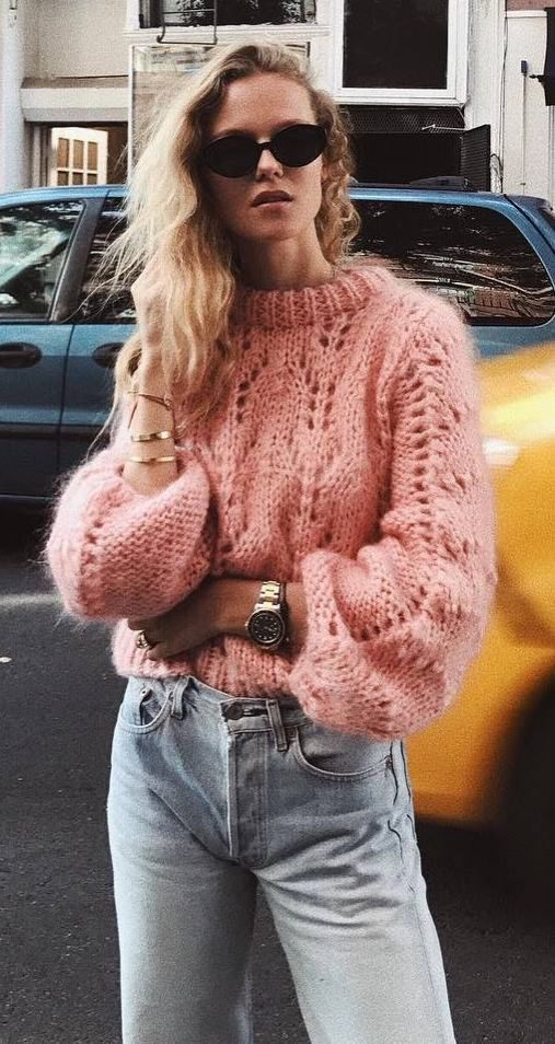 Knit And Denim Pink Sweater Plus Jeans