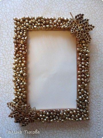 Рамка для фотографии, декорированная горохом, перловкой и фигурными макаронами. Мастер-класс. Рама, паспарту