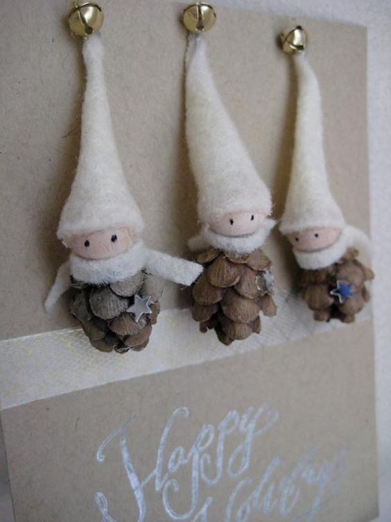 So tiny and sweet, these wee pine cone elves measure not much more than 2 and can be used to decorate your tree, a special package, or any other spot in your home that needs a touch of whimsical magic. Made by hand, each elf is slightly different. Sold in sets of three -- please